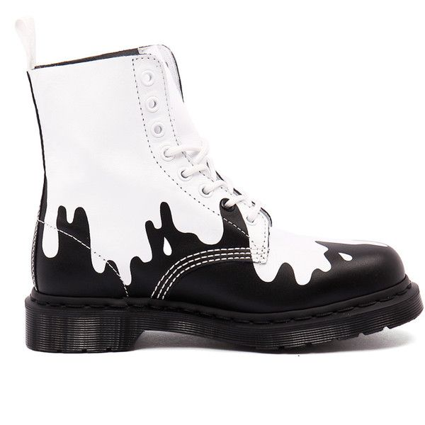 Dr. Martens Pascal Paint Splat White/Black Softy ($195) ❤ liked on Polyvore featuring shoes, low heel shoes, leather shoes, black white shoes, short heel shoes and black and white shoes