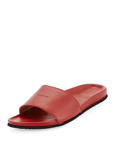 Buscemi+Leather+Slide+Sandals+|+Shoes+and+Footwear
