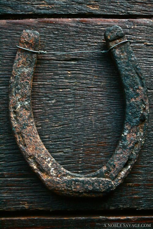 "Horseshoe - always nailed in this position to ""catch"" the luck! upside down, all the luck fell out."