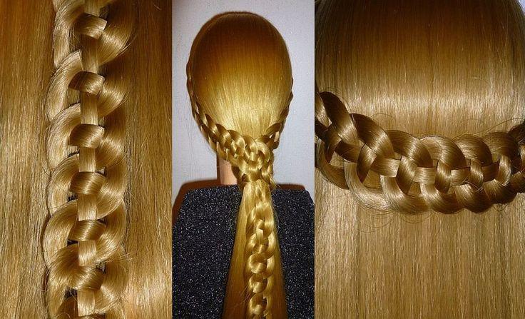Косичка из 4 прядей. Самый простой способ научиться.Причёска для средних...