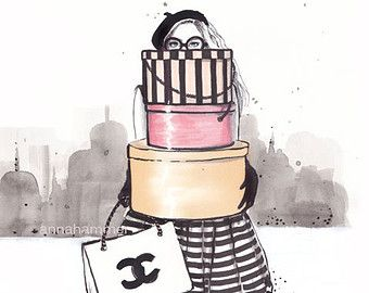 Fashion illustration,Fashion sketch , Fashion wall art, Girly wall art, Gift for…