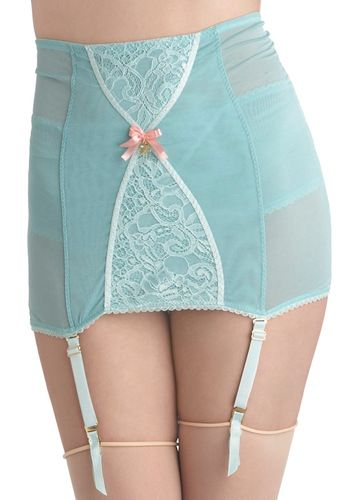 {Wandering Thoughts Garter Skirt} pastel minty-blue prettyness