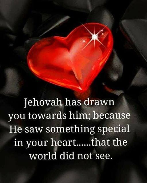 """Jehovah saw something special in your Heart..."""