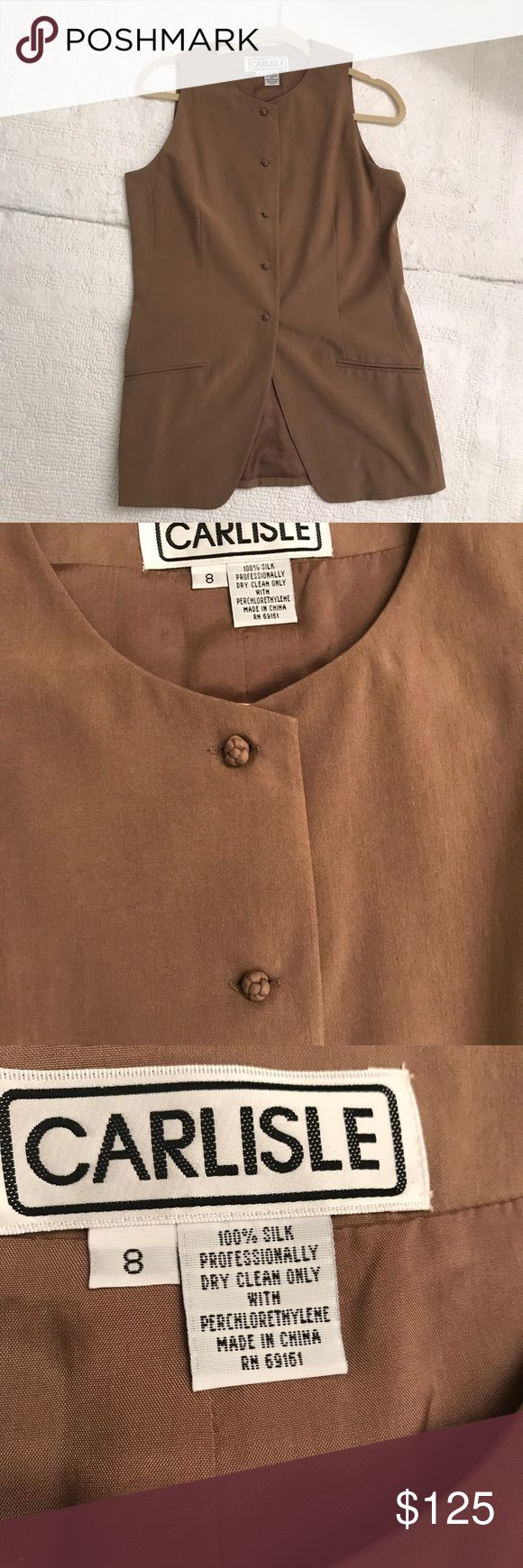 Carlisle Silk long vest / Top Carlisle 100% Silk taupe / light brown colored long vest with very unique knotted material buttons NWT Carlisle Tops