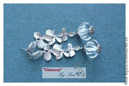 """Серьги """"Ледяное совершенство"""" с горным хрусталем - серебряный,прозрачные серьги"""