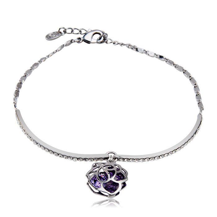 Women's Romantic Purple Rose Design Alloy + Crystal Bracelet - Silver