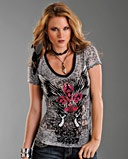 Rock & Roll Cowgirl Ladies' Fleur De Lis With Wings Burnout Tee - www.fortwestern.com