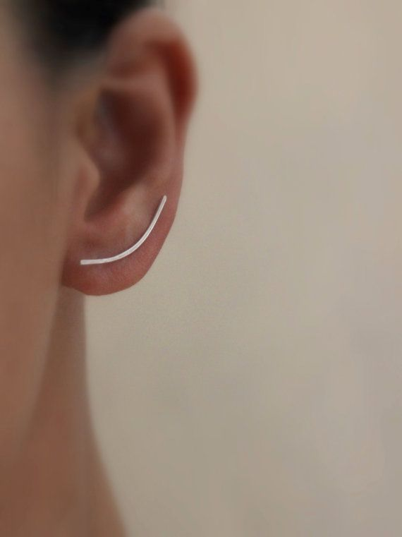 Ear Climber Sterling Silver Earrings / Climbers Crawlers Jackets Minimalist Jewelry / Gugma Jewelry