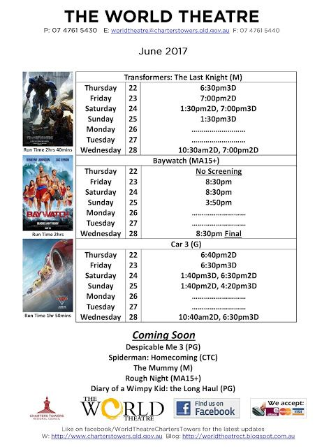 World Theatre Charters Towers: cinema schedule 22-28 June 2017