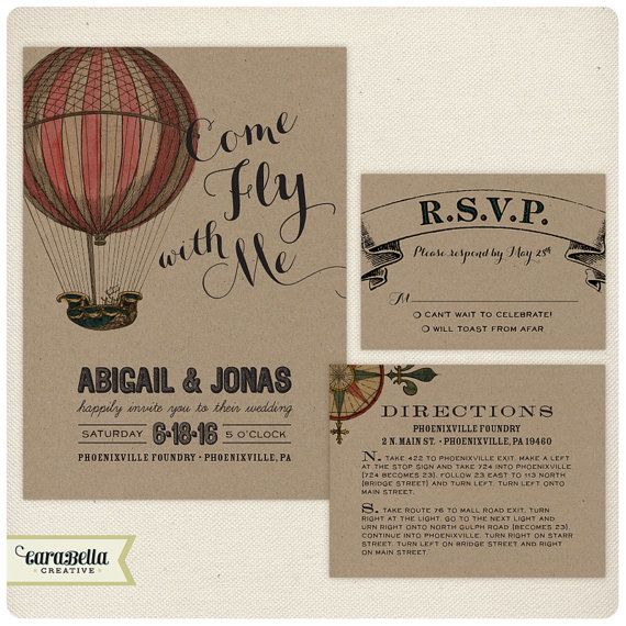 Love this new design by CarabellaCreative!  Vintage Hot Air Balloon Wedding Invitation, RSVP & Enclosure Card