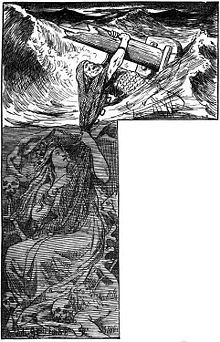 """In Norse mythology, Rán (Old Norse """"sea"""" or """"robber"""") is a sea goddess.  She is married to Ægir and they have nine daughters together, who are the waves of the ocean. She had a net in which she tried to capture men who ventured out on the sea."""