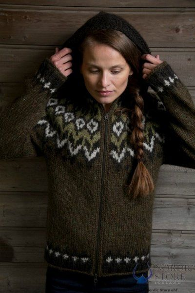 Hand knitted Icelandic sweater.  Icelandic sweaters are so so warm, and comfy.  :)