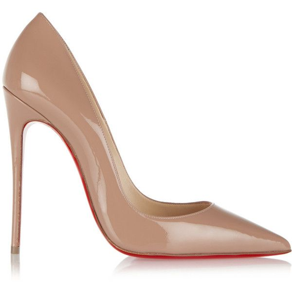 Christian Louboutin So Kate 120 patent-leather pumps found on Polyvore featuring shoes, pumps, heels, sapatos, christian louboutin, high heels, pointy-toe pumps, patent leather pointed toe pumps, brown pumps and brown pointy toe pumps