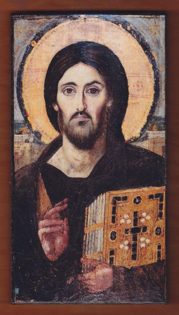 Jesus Christ Pantocrator Greek Orthodox handmade Icon by teogonia