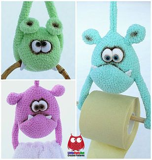 Crochet Monster Towel/Paper Holder