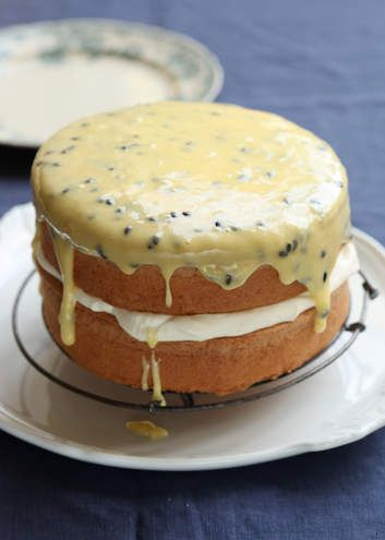 Sponge cake with passionfruit icing.