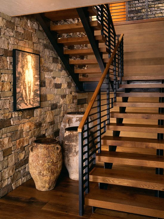 cool, modern mix of wood and metal  Staircase Design, Pictures, Remodel, Decor and Ideas - page 6
