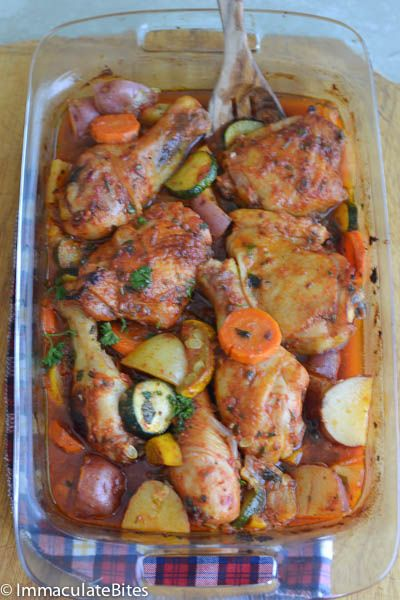Saucy Roasted Chicken on a Bed of Vegetables