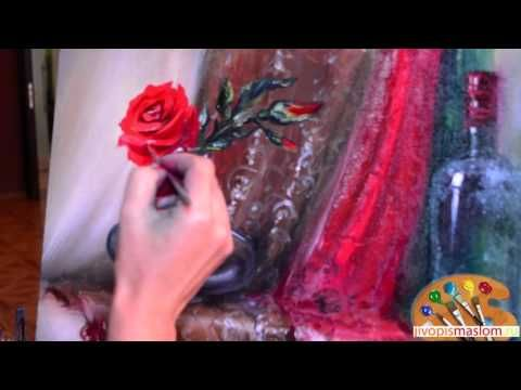 Часть 5. Написание розы. Ольга Базанова - YouTube