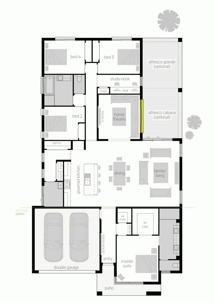 Floor plan LHS - the door to the garage should be into the space behind the kitchen which should be a mud room/laundry