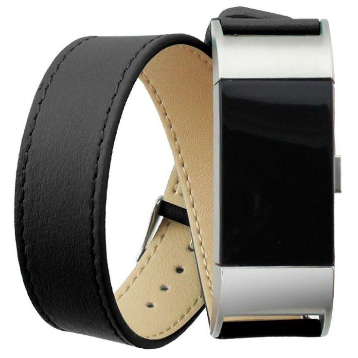 Double Tour Lederen Watchband Fitbit Charge 2 - Black