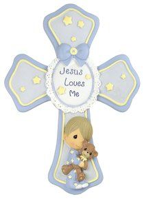 Precious Moments Cross: Boy, Jesus Loves Me