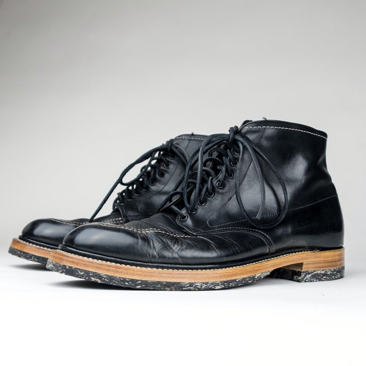 Alden Indy boots Resole. RC corded halfsoles and heels. Low block heel. Storm welt. Natural finish By Role Club