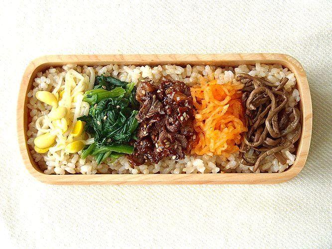 A beautifully presented bibimbap bento.
