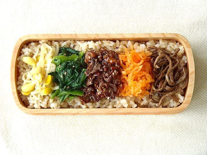 A beautifully presented bibimbap bento.