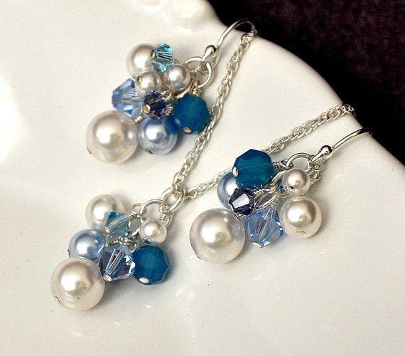 Blue Bridesmaid Jewelry Set Pearl Jewelry Set by somethingjeweled, $78.00