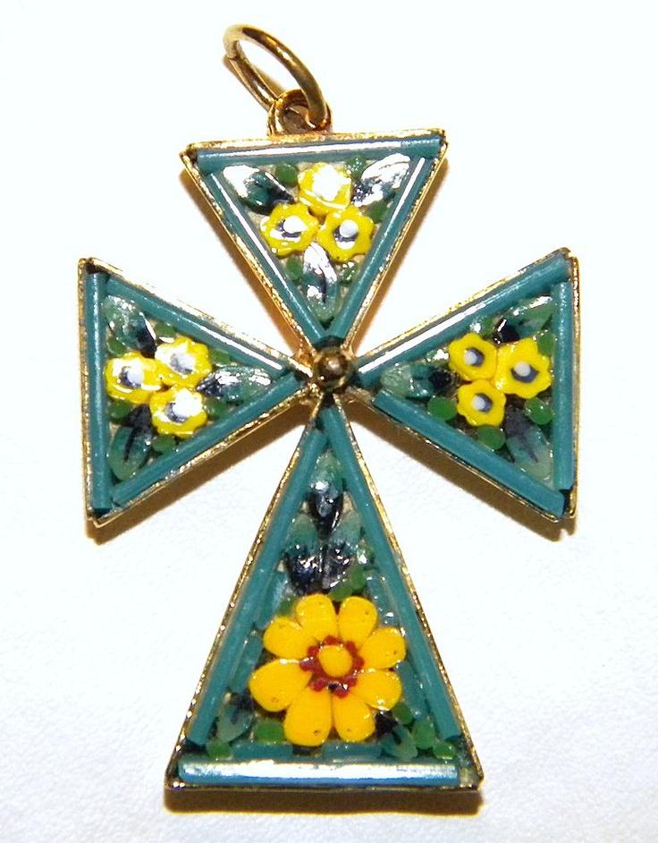Vintage Micro Mosaic Maltese Cross Pendant - Italy $43 SALE PRICE