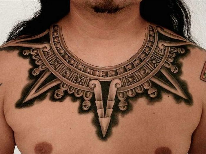 Chest Aztec Tattoo Designs For Men