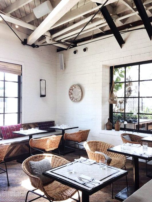 white brick walls and wicker chairs at gracias madre in l.a. / sfgirlbybay
