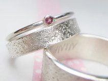 Eheringe Steinstruktur rosa Turmalin Vorsteckring