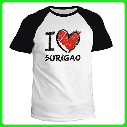 Idakoos - I love Surigao chalk style - Cities - Raglan T-Shirt - Cities countries flags shirts (*Amazon Partner-Link)