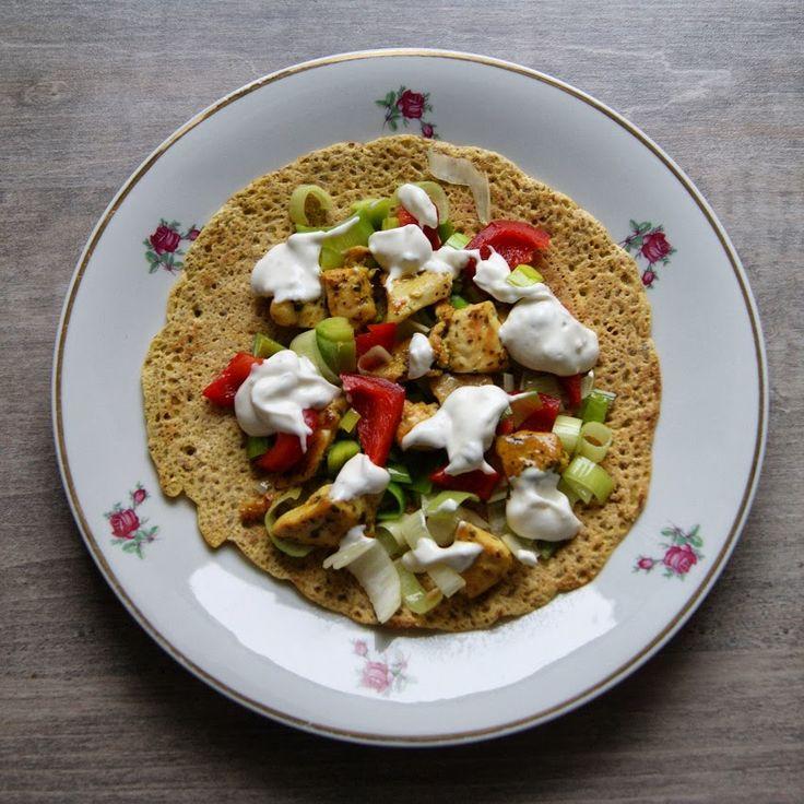Tortille bez glutenu z kurczakiem i porem Kurczak