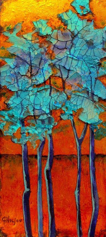 """Blue Grove 2"" mixed media tree painting © by Carol Nelson"