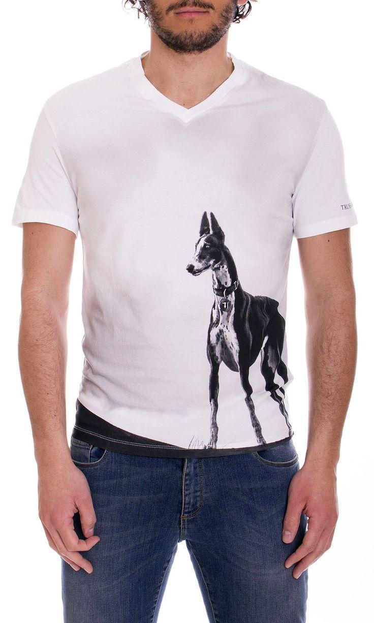 Trussardi Jeans | T-Shirt Trussardi Jeans Uomo Levriero regular Fit Col. Bianco - Shop Online su Dursoboutique.com 52T133
