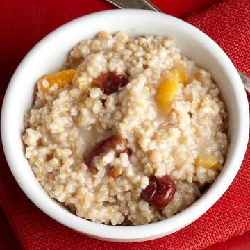 Remembering to prepare these oats before bed may not be easy, but you'll love waking up to a pre-made breakfast. Pour one cup of nonfat milk over 2/3 cup rolled oats and stir in 1/4 tsp cinnamon. Cover with plastic wrap and let sit in the fridge overnight. In the morning, add 2 tablespoons chopped walnuts and a small apple (chopped).                 NUTRIENT TOTALS                 Calories: 448.3 Protein: 19.6 g Carbohydrate: 65.3 g Dietary Fiber: 9.148 g Total Sugars: 24.2 g Total Fat…
