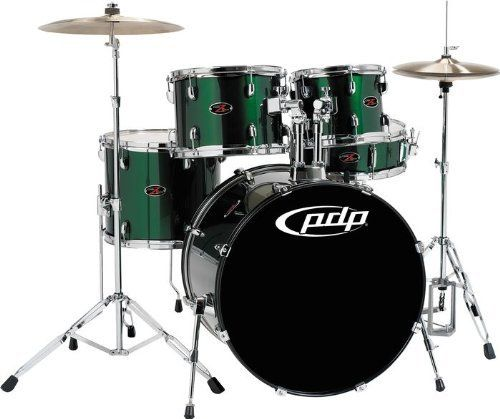"""Pacific Drums by DW Z5 Shell PACK - Emerald by Pacific Drums. $444.99. This 5-piece Z5 Series drum shell pack from Pacific Drums and Percussion is an ideal shell pack for aspiring drummers everywhere. The 5-piece shell pack features fusion tom sizes (10"""" x 8"""", 12"""" x 9"""", and 14"""" x 12""""), all-wood construction, FinishPly wrap, and an array of spotlight-stealing colors."""