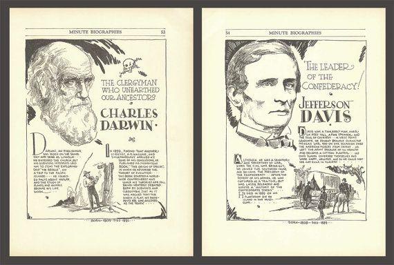 Charles Darwin Print Jefferson Davis Art by DigitalArtLand on Etsy