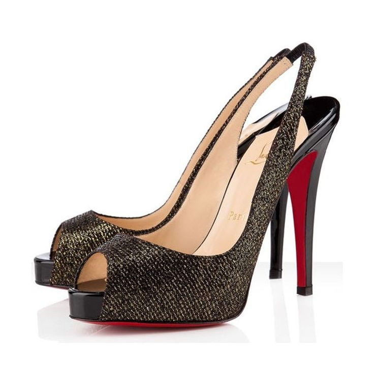 Slingback Shoes, Brown, Glitter Shoes, Black Glitter, Black Platform,  Platform Shoes, Peep Toe, Black Heels, Christian Louboutin