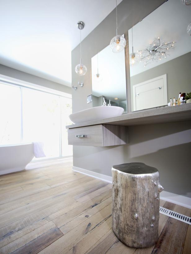 Grey Bathroom with Silver, Tree Stump and Vessel Sink : Designers' Portfolio : HGTV - Home & Garden Television
