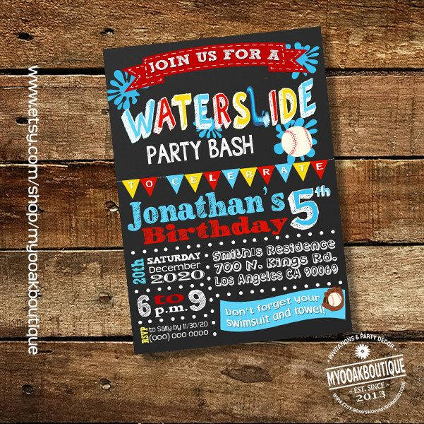 Waterslide baseball birthday bash invitation backyard pool party water slide invite summer chalkboard digital printable invitation 13632 by myooakboutique on Etsy
