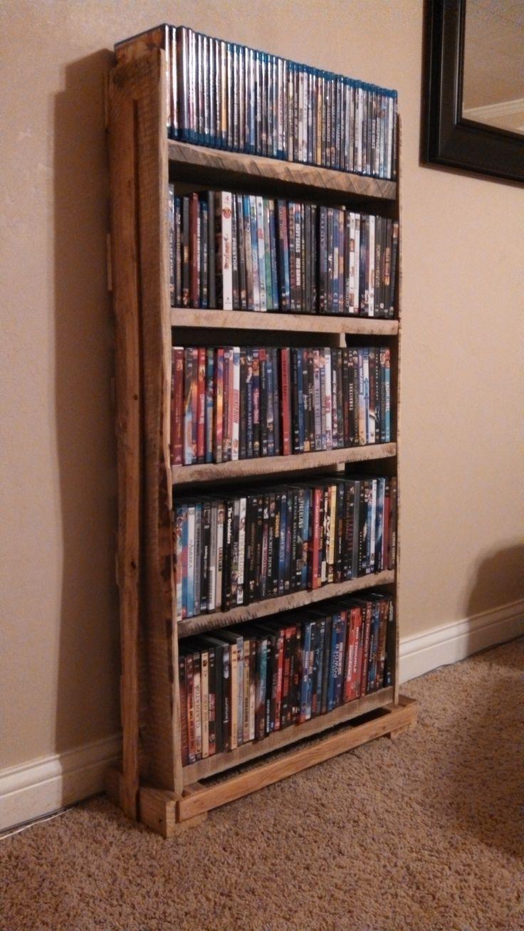 Pallet wood dvd rack pallet crafts pinterest dvd for Diy shelves pinterest