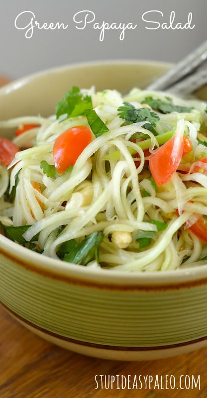 Green Papaya Salad, Paleo-style | stupideasypaleo.com Click here for the recipe >> http://stupideasypaleo.com/2012/06/13/green-papaya-salad/ #paleo #thaifood #whole30