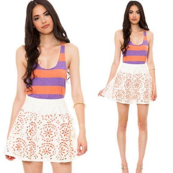 Laser Cut Skater Skirt S Flared leatherette laser cut skater skirt with orange lining. Skirts Circle & Skater