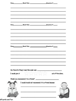 Fourth and Ten: Reading Response Home Reading Log {Freebie}