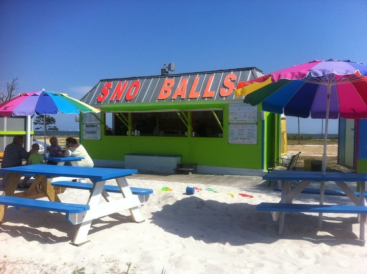 Tommy's Sno Balls, Navarre Beach, FL; yummy and overlooking the sound.