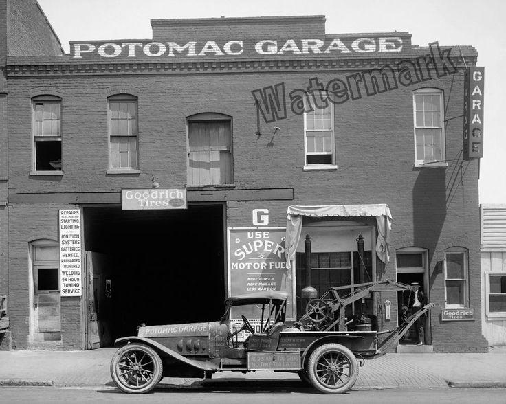 Photograph Potomac Washington DC Car Repair Garage with Tow Truck 1922   8x10